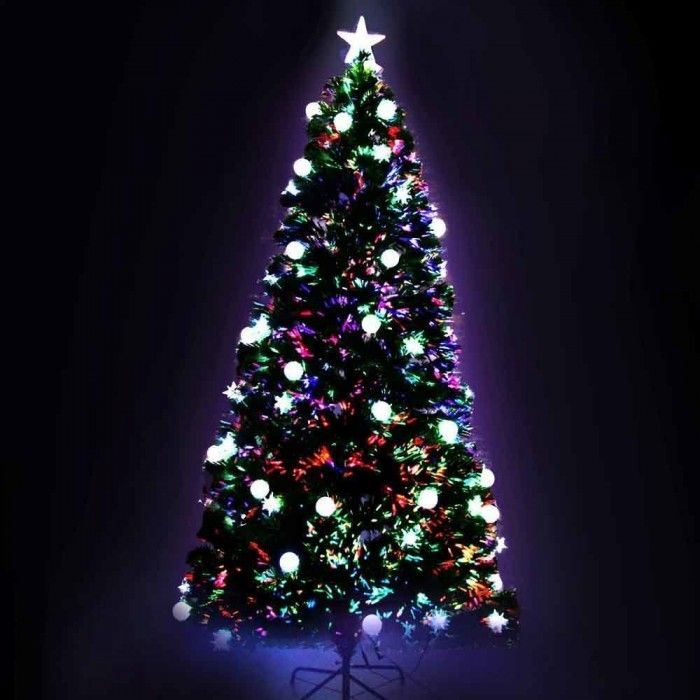 Fiber Optic Decorated Christmas Tree - 210cm