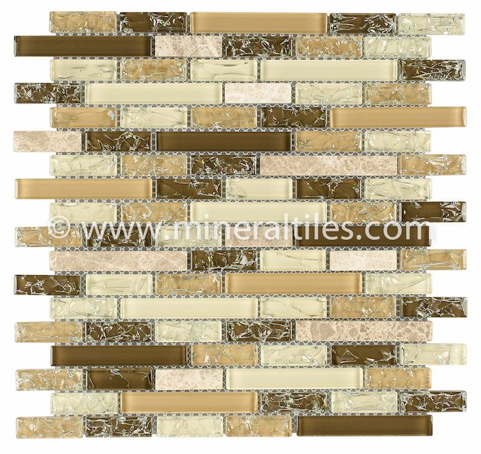 Linear Crackled Glass Tile Cappuccino | Glass, Stone tiles