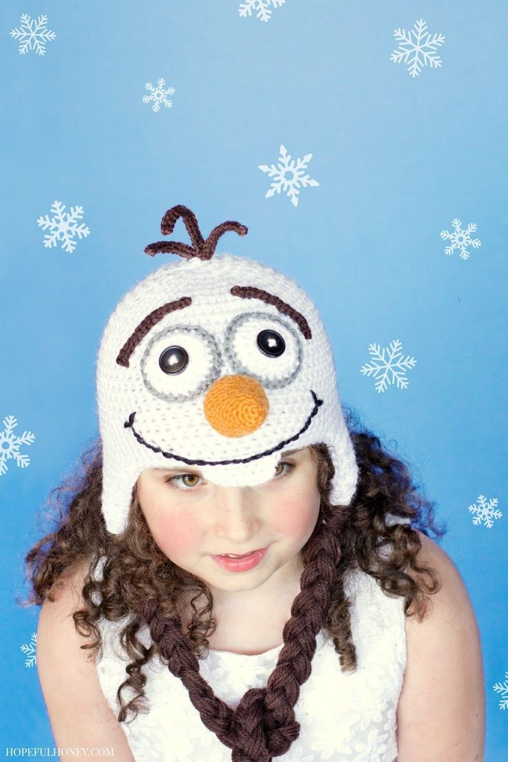 An Olaf hat inspired by Frozen by Hopeful Honey. A great hat for when you are ready to build a snowman. We recommend using Vanna's Choice.