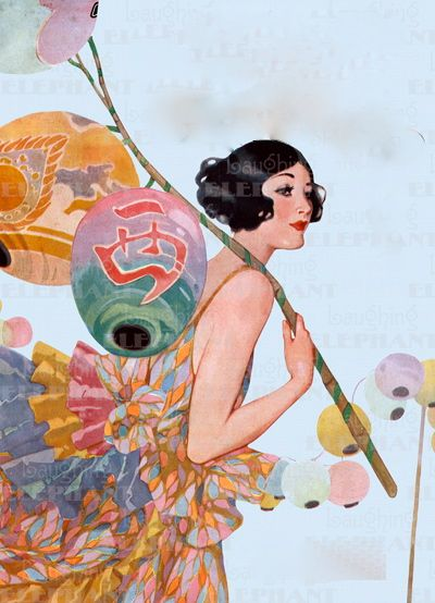 1920's Lady With Paper Lanterns. Dear Fellow Pinners - if anyone seeing this knows WHERE TO FIND a PRINT of this gorgeous lady, please let me know, via a Comment. Thank You ! - Rachel Stothard.