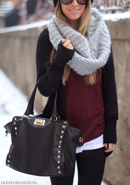 black leggings, white top, maroon sweater, black cardi and chunky infinity scarf