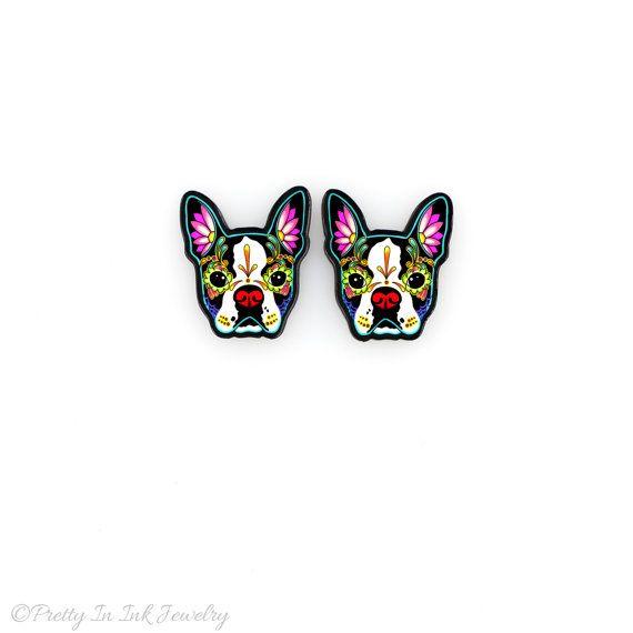 Boston Terrier jour des boucles d'oreilles de chien de tête de mort Dead sucre