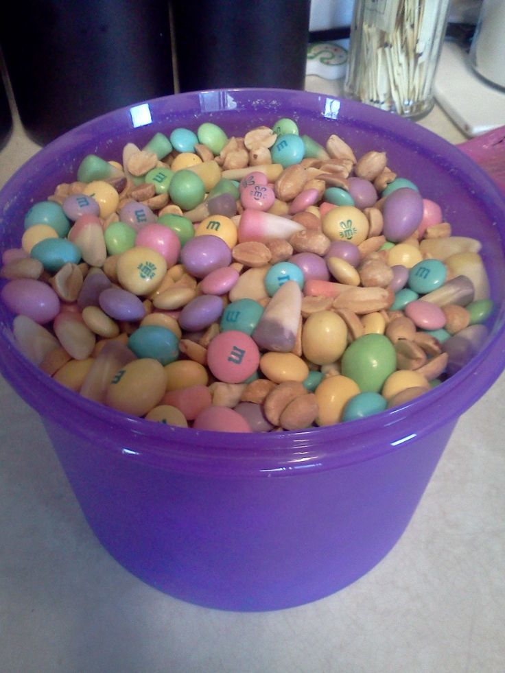 Bunny mix! 1 jar peanuts, 1 bag easter m  s, 1 bag easter peanut m's, 1 bag easter white chocolate m's and 1 bag spring candy corn! Mix and sweetly enjoy!