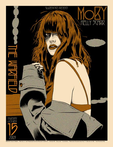 Moby: Concerts Poster, Poster Frame-Black, Poster Numbers, Band Poster, Poster Art, Gig Poster, Scarr Concerts, Kelly Scarr, Coolest Poster