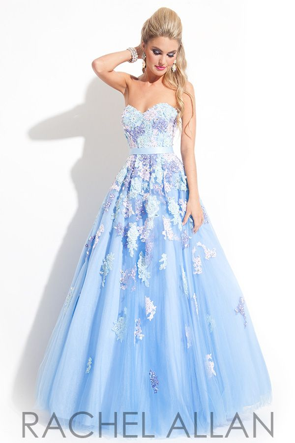Strapless Sweetheart Ball Gown with multi-colored Lace Applique on Soft Tulle prom dress by Rachel Allen