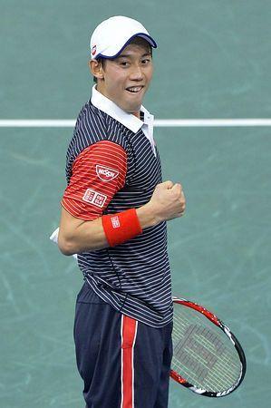 シングルス3回戦でツォンガに勝ち、喜ぶ錦織圭=30日、パリ(AFP=時事) ▼31Oct2014時事通信|錦織が8強入り=次勝てば最終戦進出-男子テニス http://www.jiji.com/jc/zc?k=201410/2014103100156 #Kei_Nishikori