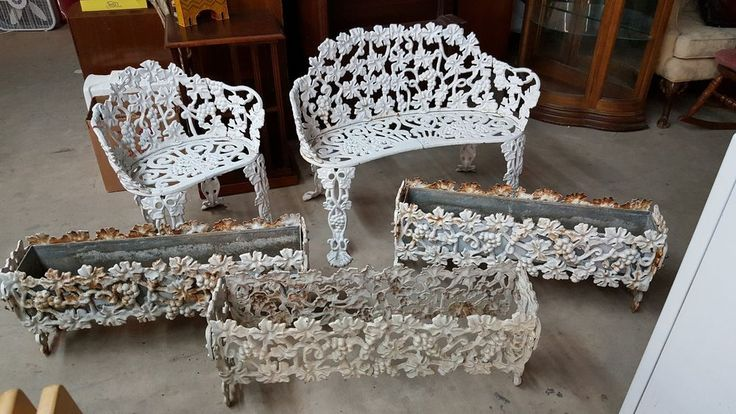 Antique Cast Iron 5 Piece Patio Grapevine Lawn Furniture