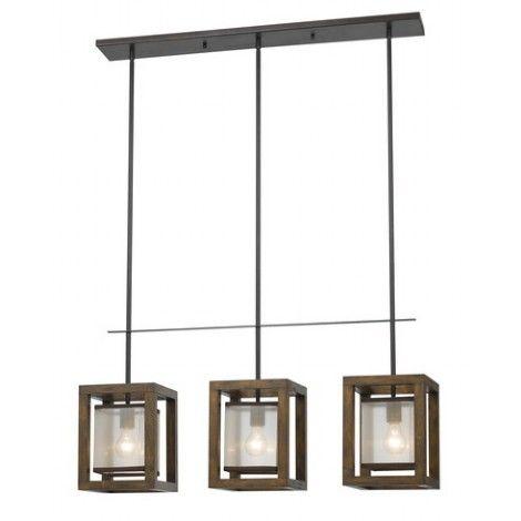 Luminaire suspendu rectangle en métal fini bronze fer avec cadrage en bois.