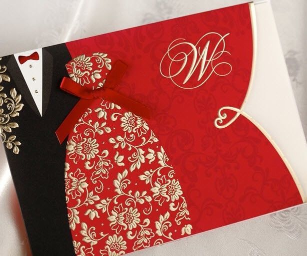 Festive Red Lovers Silk Tie Wedding Invitations Cards with Envelopes, Seals