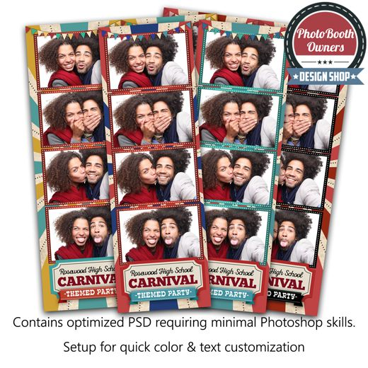 A fun, retro and vintage carnival themed design. From the classic carnival sunburst pattern, to the fonts, the pennants, and the marquee light borders — this template is terrific for any carnival or circus themed event! The elements are fully color customizable to ensure this template fits any event perfectly!