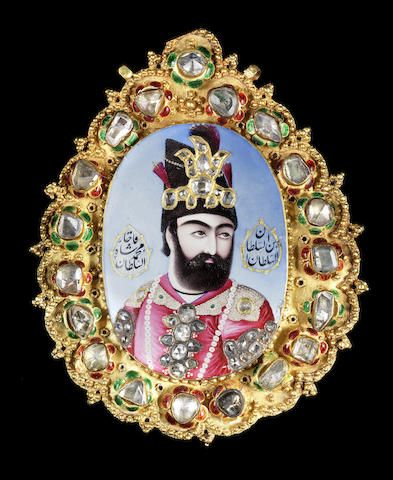A magnificent, large, diamond-set enamelled gold Portrait of Muhammad Shah Qajar (r. 1834-48) Persia, circa 1835-40 - (sold64,000-89,000Euro)