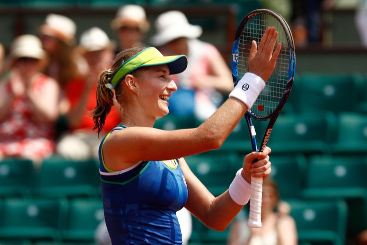 Ekaterina Makarova Photos Photos - Ekaterina Makarova of Russia celebrates victory after the ladies singles first round match against Angelique Kerber of Germany on day one of the 2017 French Open at Roland Garros on May 28, 2017 in Paris, France. - 2017 French Open - Day One