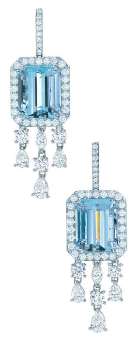 Earrings of emerald-cut aquamarines, diamonds and platinum. From The Great Gatsby collection by Tiffany & Co., inspired by Baz Luhrmann's film in collaboration with Catherine Martin.