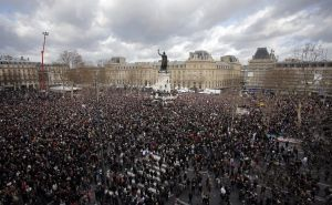 APTOPIX France Attacks Rally...A crowd gathers in Republique square before the demonstration in Paris, France on Sunday. More than 2,200 police are on guard to protect marchers. (Laurent Cipriani/Associated Press)