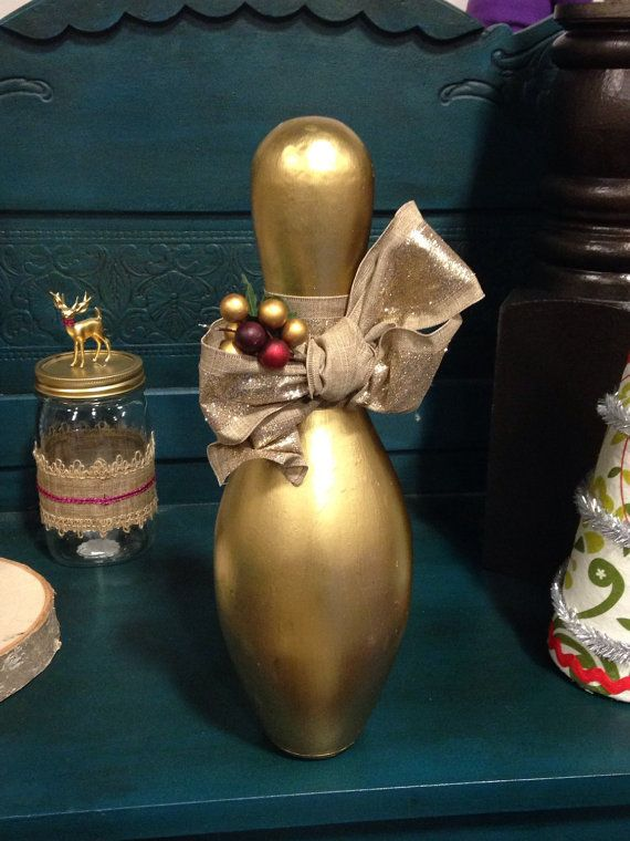 Golden Bowling Pin by InsideMyGardenGate on Etsy