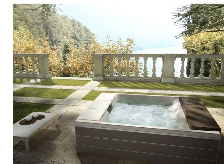 Would you like to be in this #garden lying down on the massage seats or relaxing on the chaise-longues for total immersion? The dream comes true with this #minipool - #Teuco #outdoor