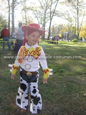Coolest Toy Story Jessie Costume - She won first place in our towns costume judging!! =) My daughter wanted to be Jessie for Halloween this year!  We are always big on homemade costumes! I thought this was going to be a cinch!  Well it was