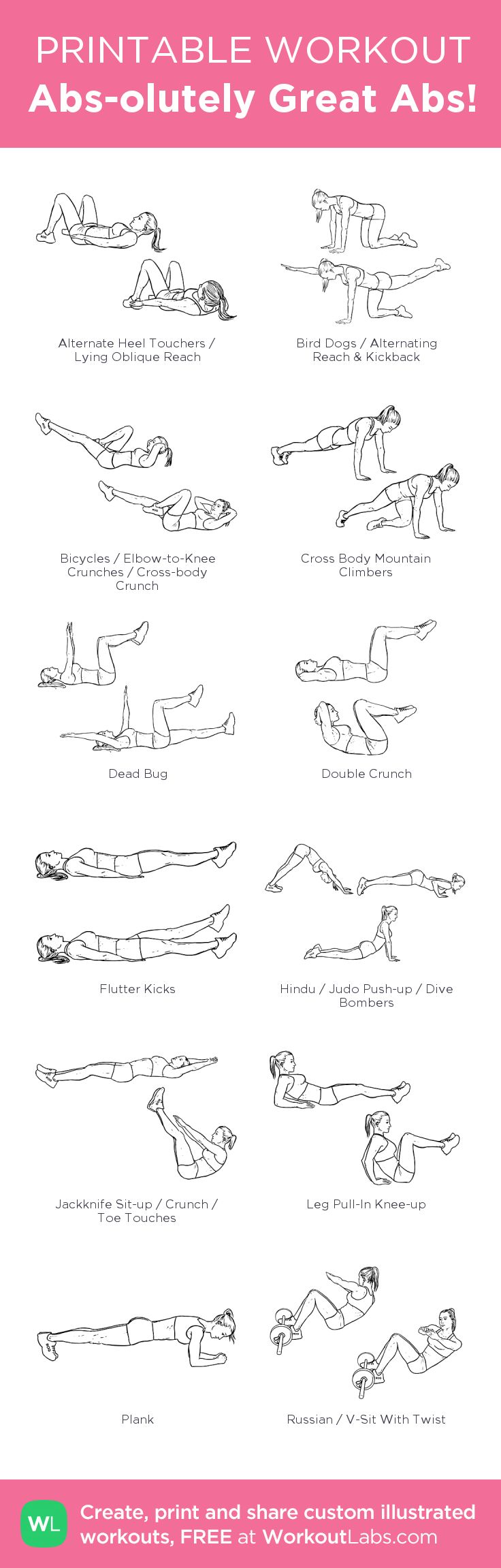 Abs-olutely Great Abs! – Custom workout created at http://WorkoutLabs.com • Click through to download as printable PDF! #customworkout