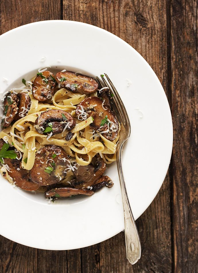 Pasta with Mushrooms in a Creamy Mustard Sauce
