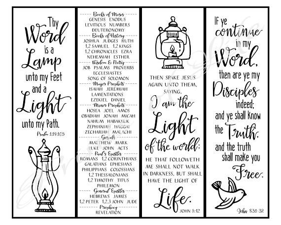 Thy Word Christian Bookmarks Instant Download Diy