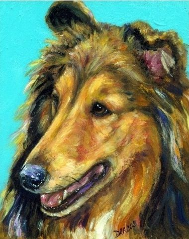 RoughCoated Collie Dog Art 8x10 Print of Original by DottieDracos