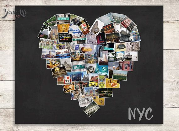 ANY CITY- Photo Collage, New York Gift, Photo collage, Gift for best friend, Personalized Christmas Love Gift  Celebrate your LOVE for YOUR