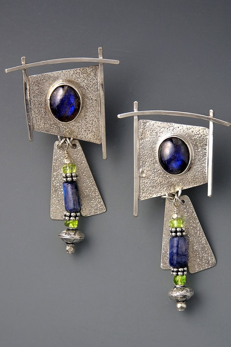 Earrings | Patricia Reinking.  Sterling silver, Labradorite, peridot