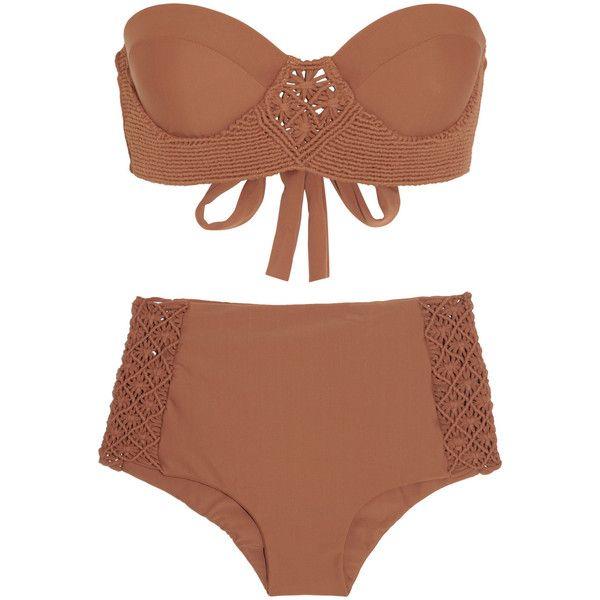 Tori Praver Toledo macramé-detailed bikini ($171) ❤ liked on Polyvore featuring swimwear, bikinis, bikini, swimsuits, bathing suits, swim, brown, swim suits, high waisted swimsuit and swimsuits high waisted bikini