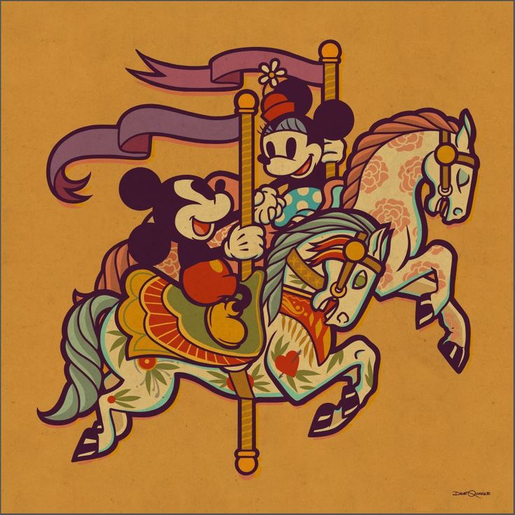 'Mickey & Minnie On The Carousel' by Dave Quiggle for Disney's WonderGround Gallery