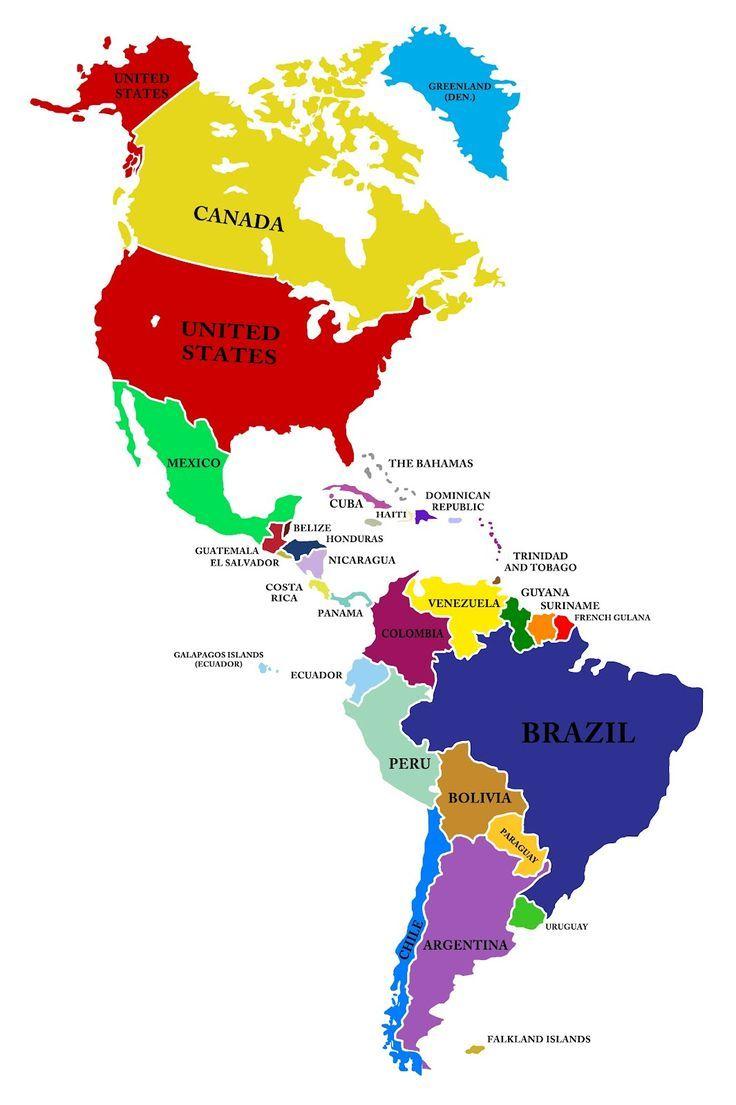 Mapa De America Incluye Del Norte Central Y Sur On Politico Con