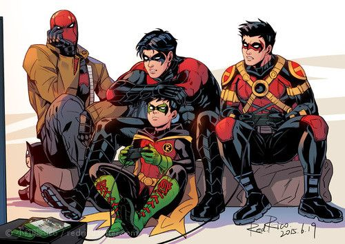 Robins play XBox One. Red Hood, Robin, Nightwing, & Red Robin.