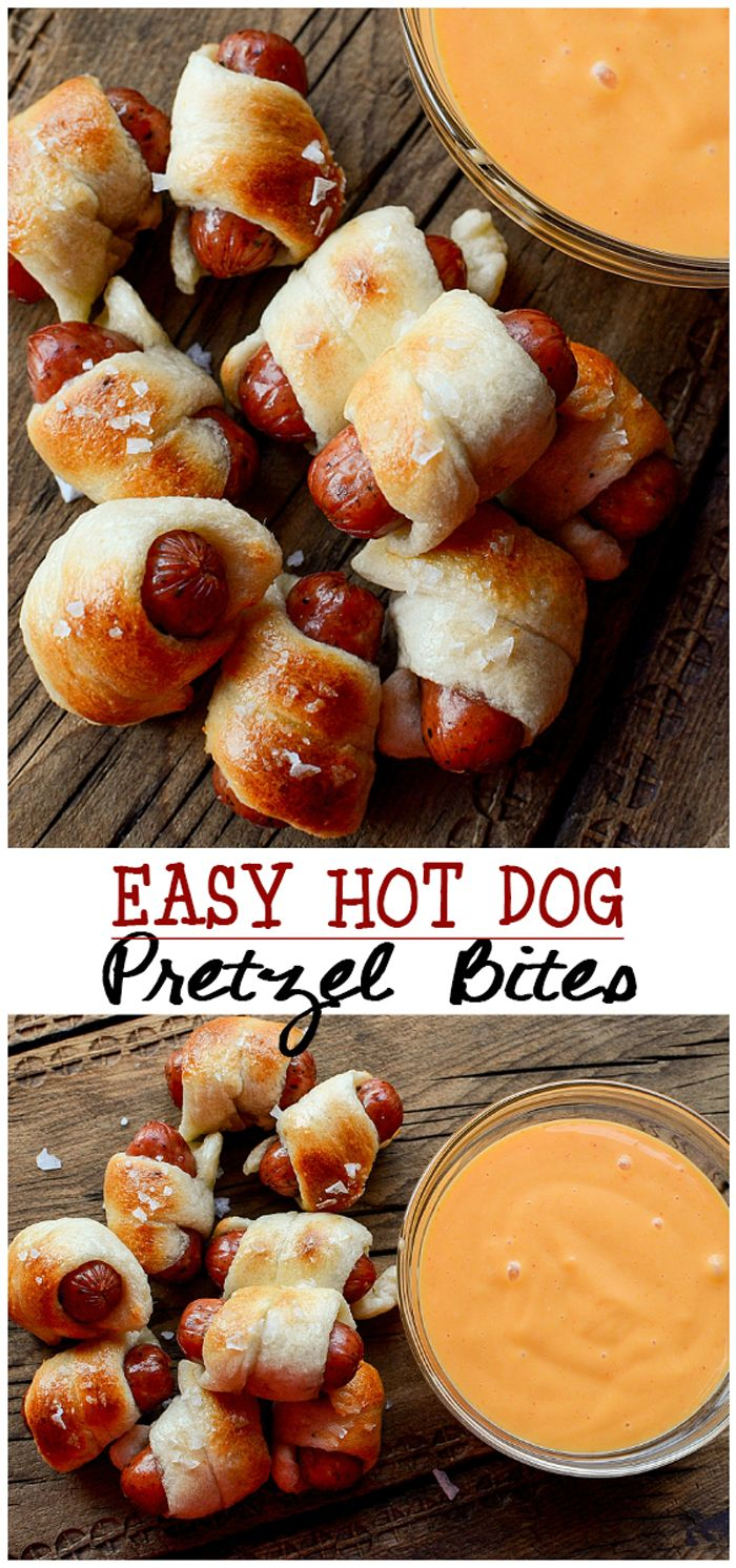 Easy to make Cocktail sausage Pretzel Bites recipe for party appetizers - mini pigs in a blanket