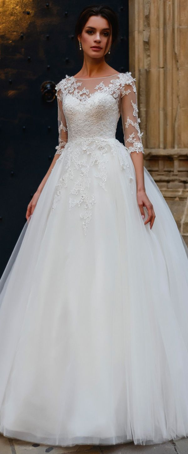 Attractive Tulle Bateau Neckline A-line Wedding Dress With Lace Appliques & Beadings & 3D Flowers