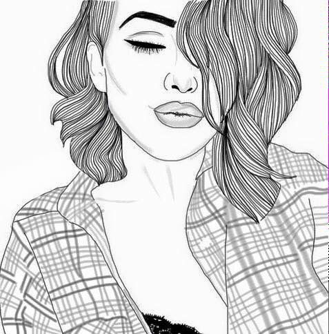 Best Tumblr Outlines Images On Pinterest Girl Drawings - Hairstyle drawing tumblr
