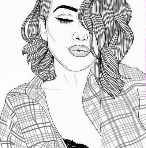 black, girl, outline, outlines, tumblr, white, tumblrish