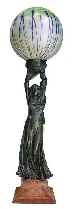 Gustav Gurschner figural bronze lamp with a shade by Pallme Konig.