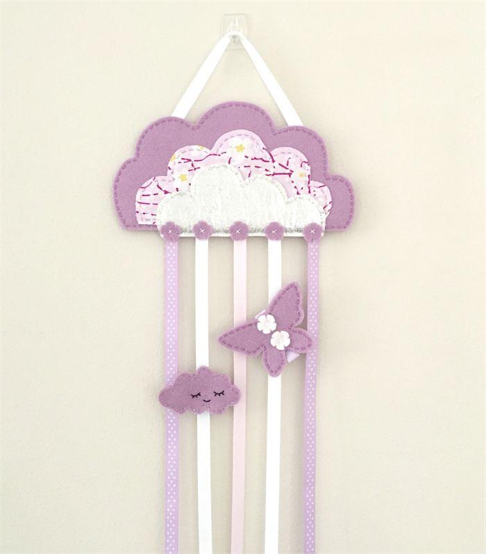 Silver cloud hair clips holder, felt, lavender purple, storage, wall decor