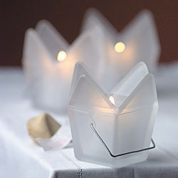 Chinese Takeout Box Candle Holders :: Darling!
