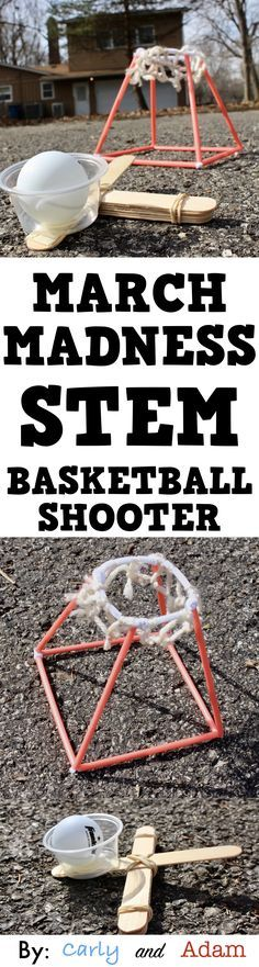 March Madness Basketball STEM: This is a great STEM challenge for March. Younger students design and build a basketball shooter to launch a ping pong ball into a trash can, bucket, or cup. Older students design and build a basketball shooter as well as a basketball goal to shoot the ping pong ball into.
