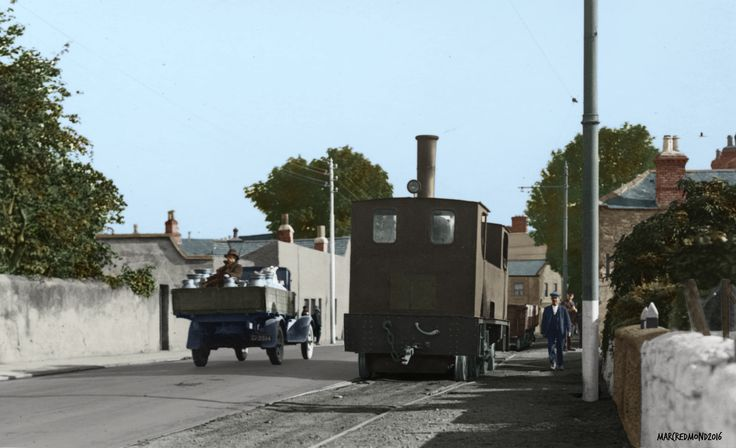 Colourising History - Steam Tram at back of old depot on Templeogue Road in Terenure Dublin 1940s