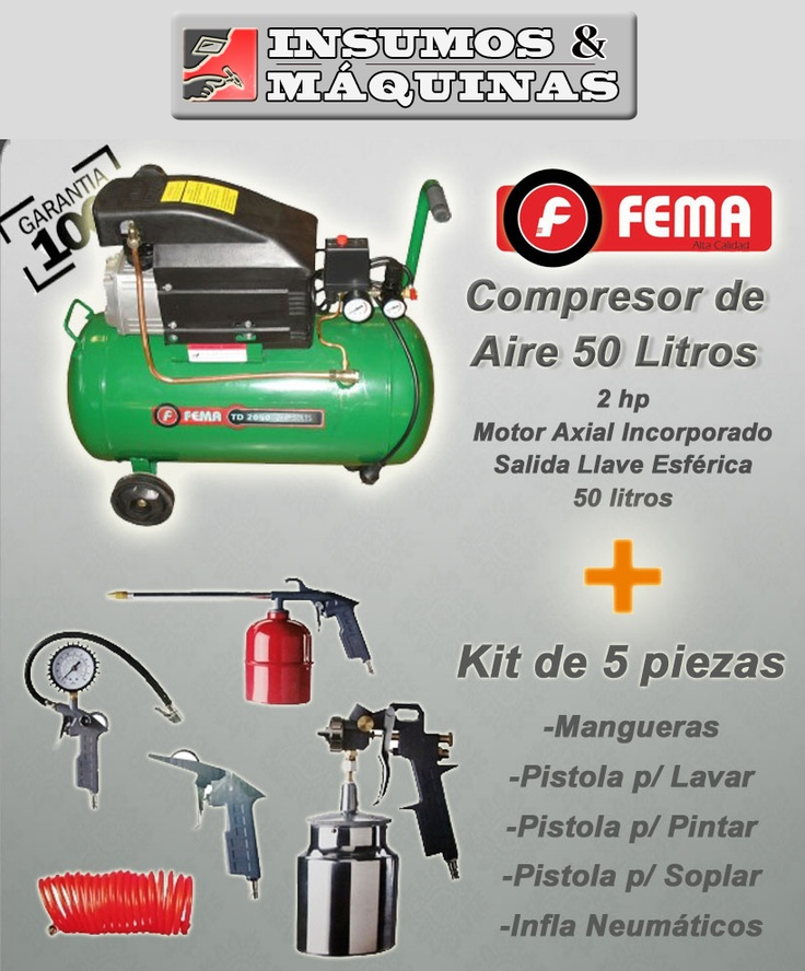 Compresor 50 Litros 2.5hp | KIT de 5 piezas | FEMA