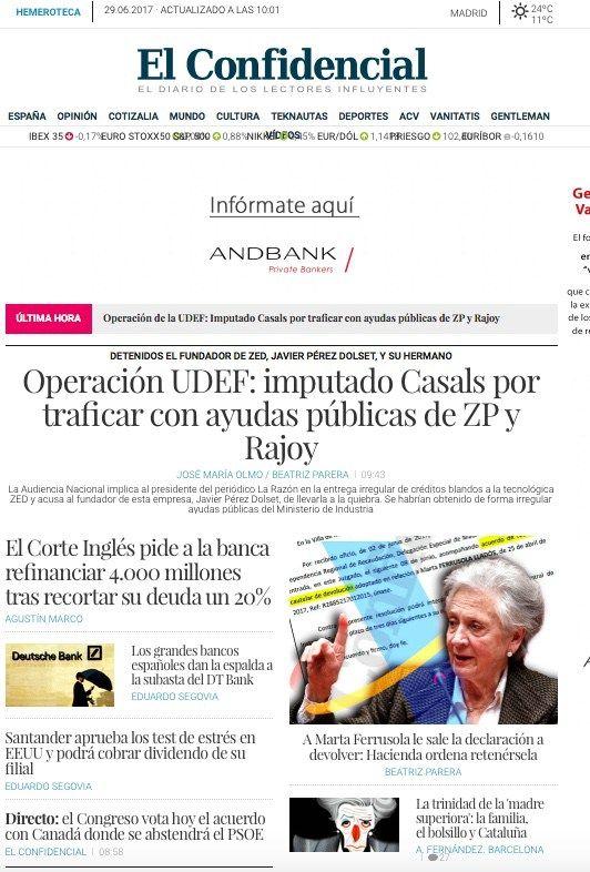 Portadas de periódicos: El Presidente de la Razón Mauricio Casal y el empresario Pérez Dolset implicados en un fraude subvenciones.