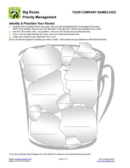 Have you seen this great tool for prioritization? http://www.thecoachingtoolscompany.com/products/big-rocks/