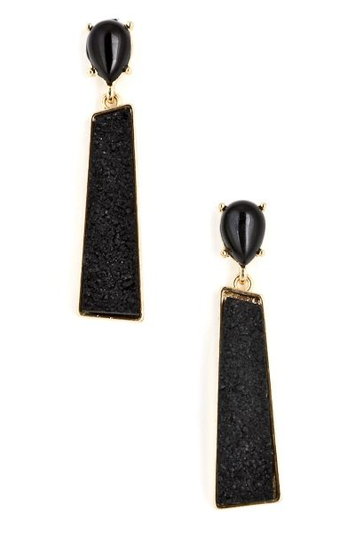 Pin-up Darling - Gemstone in the Rough Earrings in Black, $8.95 (http://www.pinupdarling.com/gemstone-in-the-rough-earrings-in-black/)