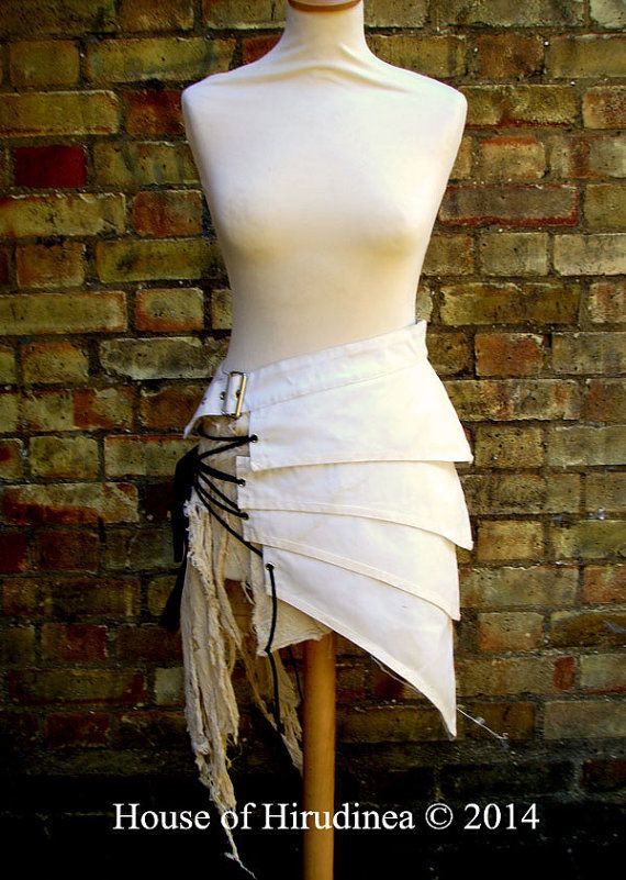 Post apocalyptic asymmetric over skirt clothing antiqued white sizes Small to…