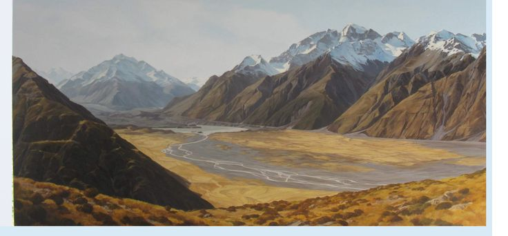 """Tasman Valley Aoraki Mount Cook New Zealand   Artist and curator Jane Sinclair  presents a new exhibition of oil paintings  """"Landscapes""""  To me painting a landscape is more than just recreating a beautiful scene. It's about capturing a moment in time, when a shadow falls across the land accentuating the light, or the low sun bathes the land and sky in colour. Jane Sinclair"""
