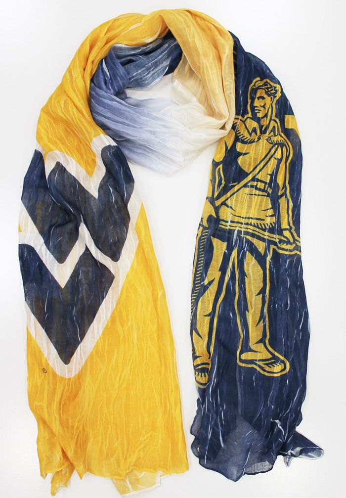 WVU Mountaineer & Logo Scarf | This ombre blue & gold West Virginia scarf is a great accessory to add to any game day outfit!