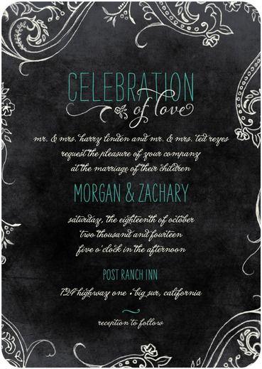 Chalk Celebration - Signature White Wedding Invitations - Lady Jae - Bay - Green : Front