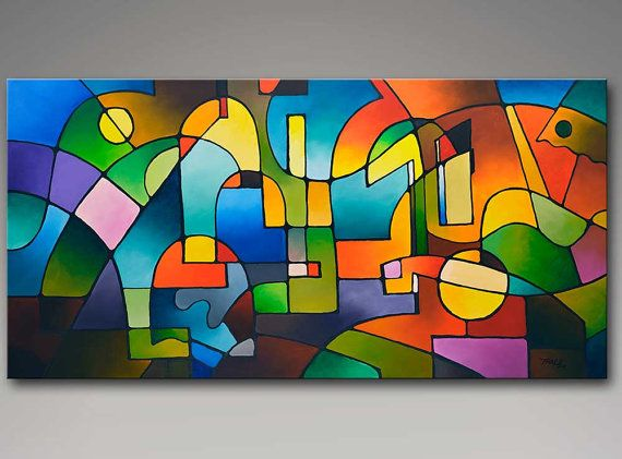 Geometric abstract painting large wall art by SallyTraceFineArt