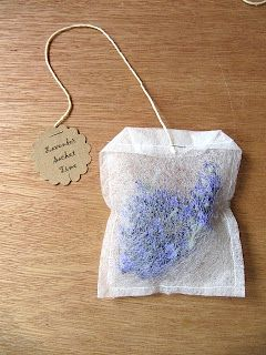 Make a lavender sachet from a used dryer sheet and dried lavender